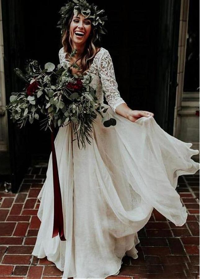 Charming Lace & Chiffon V-neck Neckline Two-piece A-line Wedding Dresses