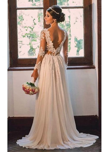 Elegant Tulle & Chiffon V-neck Neckline Sheath Wedding Dresses With Beaded Lace Appliques