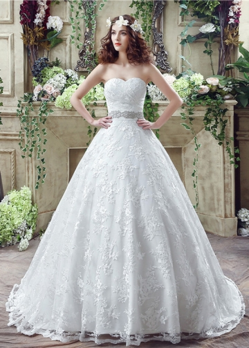 Modest Lace Sweetheart Neckline A-Line Wedding Dresses With Beads & Rhinestones