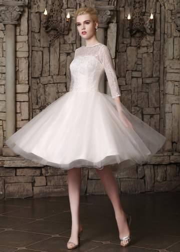 Romantic Lace & Tulle Jewel Neckline Knee-length A-line Wedding Dresses