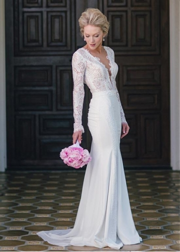 Junoesque Chiffon & Lace V-neck Neckline Mermaid Wedding Dresses With Lace Appliques