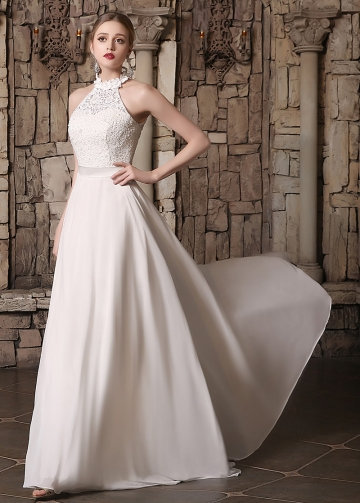 Elegant Lace & Chiffon High Collar Neckline A-line Wedding Dresses