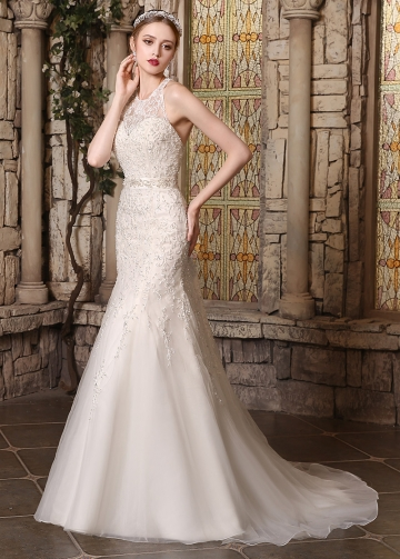 Elegant Organza Jewel Neckline Mermaid Wedding Dresses