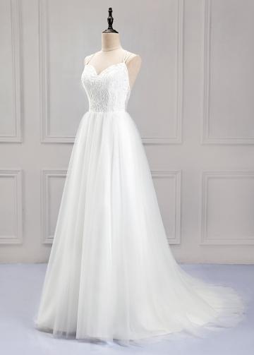 Pretty Lace & Tulle Spaghetti Straps Neckline A-Line Wedding Dress