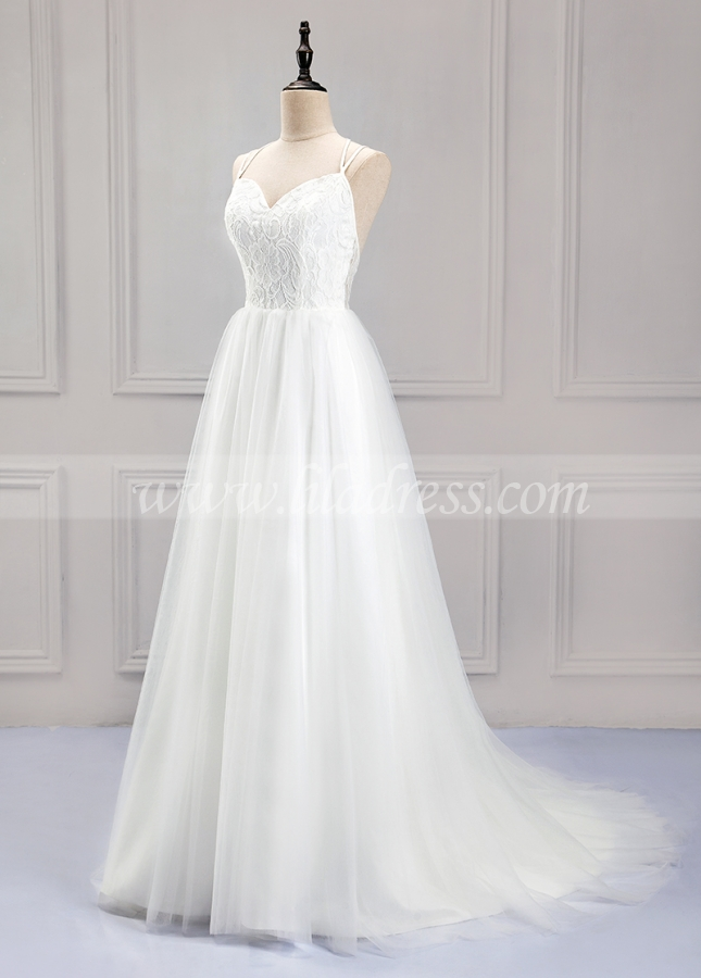 Pretty Lace & Tulle Spaghetti Straps Neckline A-Line Wedding Dress