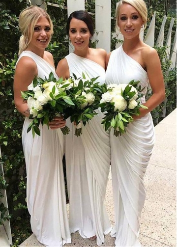 Exquisite Jersey One Shoulder Neckline Full-length Sheath/Column White Bridesmaid Dress