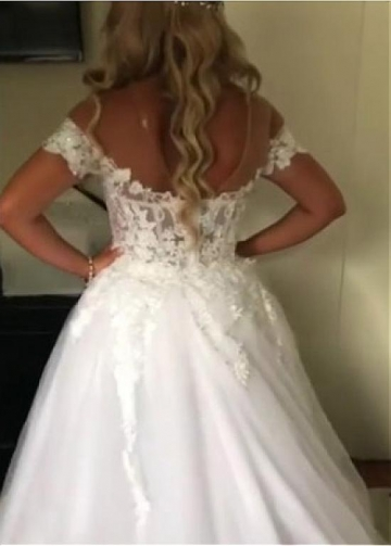 Unique Tulle Jewel Neckline 2 In 1 Wedding Dresses With Beaded Lace Appliques & Detachable Train