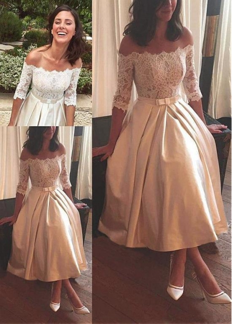Graceful Lace & Satin Off-the-shoulder Neckline Hi-lo A-line Wedding Dresses With Belt & Bowknot