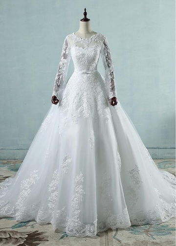 Eye-catching Tulle Jewel Neckline A-line Wedding Dresses With Lace Appliques & Belt & Bowknot