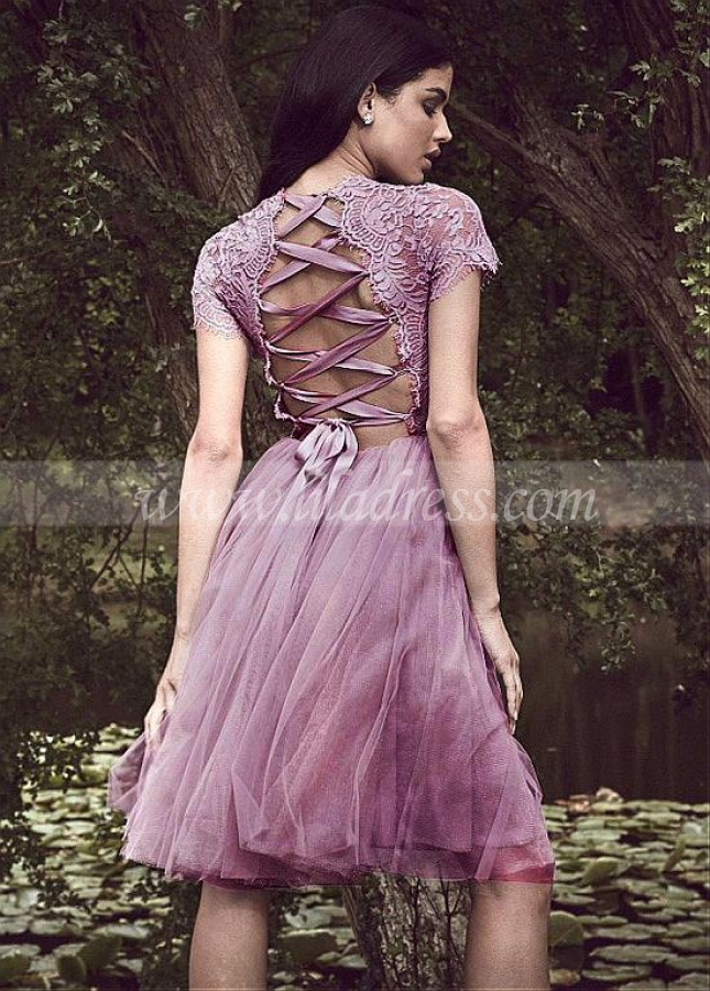 Unique Lace & Tulle Bateau Neckline Short Sleeves Knee-length A-line Homecoming Dress
