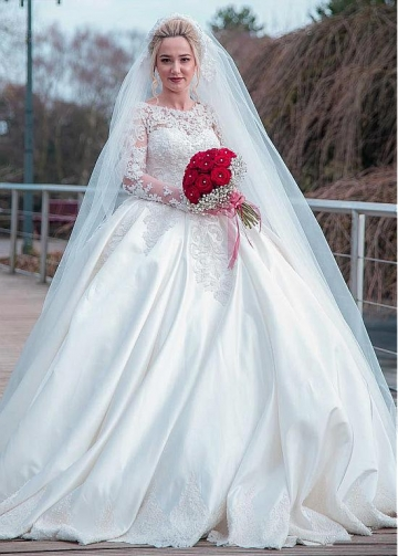 Fantastic Tulle & Satin Jewel Neckline Ball Gown Wedding Dress With Beaded Lace Appliques