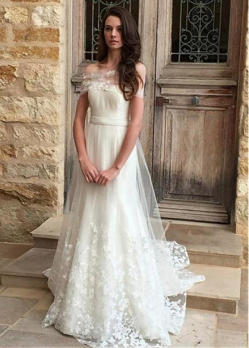 Elegant Tulle Off-the-shoulder Neckline A-line Wedding Dress With Lace Appliques & Belt
