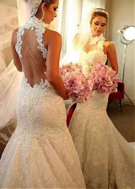 Alluring Tulle & Lace High Collar Mermaid Wedding Dress With Lace Appliques & Beadings