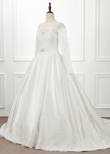 Modest Tulle & Satin Jewel Neckline Ball Gown Wedding Dress With Lace Appliques & Belt & Beadings