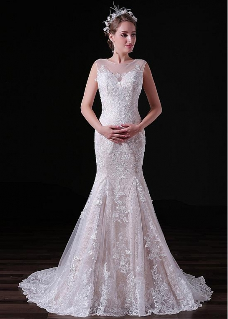 Glamorous Tulle Jewel Neckline Floor-length Mermaid Wedding Dresses With Lace Appliques