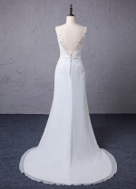Gorgeous Tulle & Chiffon Scoop Neckline A-Line Wedding Dress With Lace Appliques