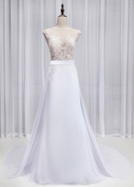 Graceful Tulle & Chiffon Jewel Neckline See-through Mermaid Wedding Dress With Lace Appliques & Detachable Train