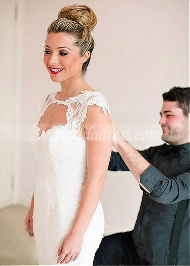 Marvelous Tulle & Satin Jewel Neckline Mermaid Wedding Dresses With Lace Appliques