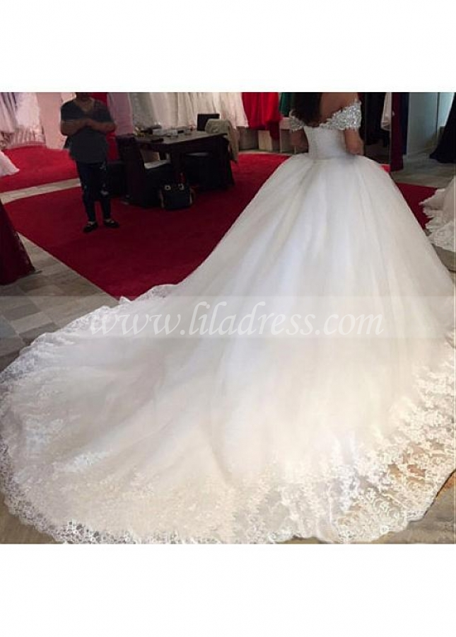 Marvelous Tulle & Satin Sweetheart Neckline Ball Gown Wedding Dresses With Beaded Lace Appliques