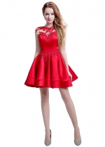 Stunning Satin & Tulle Jewel Neckline Cap Sleeves Short A-line Homecoming Dresses