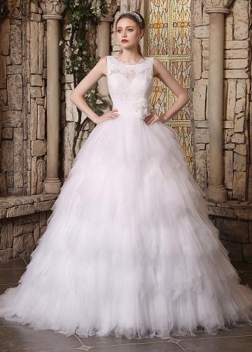 Amazing Lace & Tulle Bateau Neckline Ruffled A-line Wedding Dresses