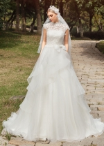 Classic Lace & Tulle Illusion High Neckline A-line Wedding Dresses