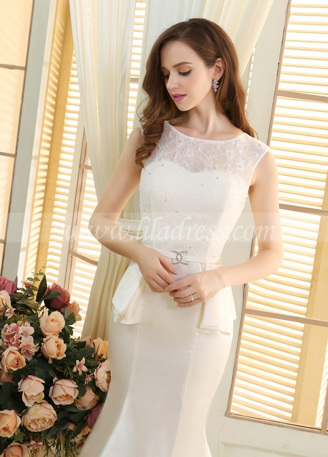 Stunning Lace & Satin Scoop Neckline Mermaid Wedding Dresses