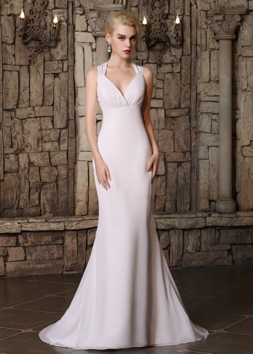 Graceful Chiffon Halter Neckline Mermaid Wedding Dresses