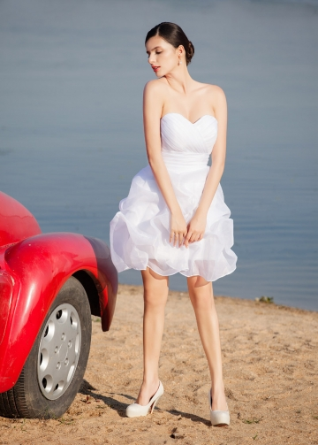 Chic Organza Satin Sweetheart Neckline Short Sheath Wedding Dresses