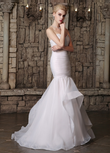 Alluring Organza Satin Sweetheart Neckline Ruffled Mermaid Wedding Dresses With Lace Appliques