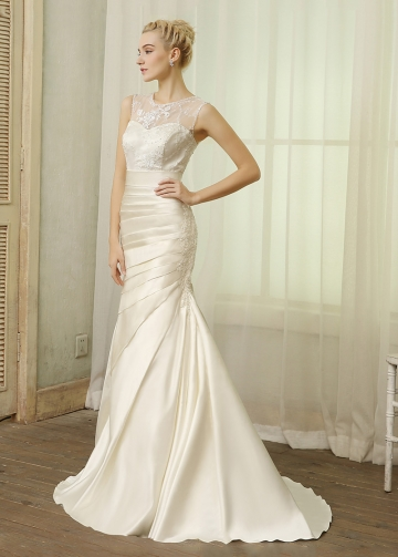 Chic Satin Jewel Neckline Mermaid Wedding Dresses With Beaded Embroidery