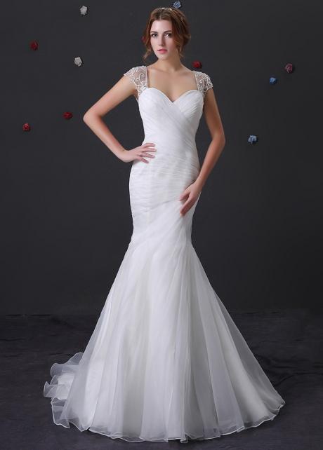 Elegant Organza Sweetheart Neckline Mermaid Wedding Dress