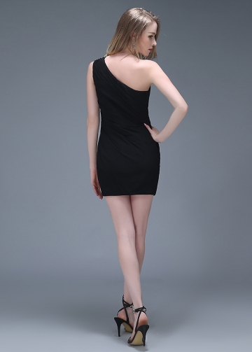 Beautiful Chiffon Sheath One Shoulder Neckline Short Homecoming Dresses