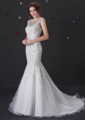 Glamorous Organza Bateau Neckline Mermaid Wedding Dress With Beaded Lace Appliques