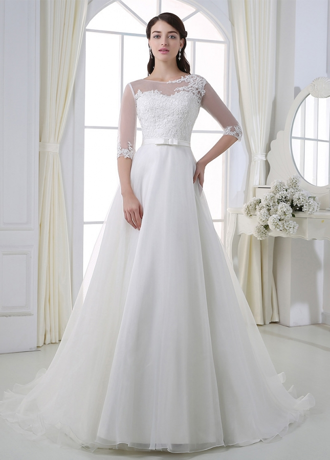 Glamorous Tulle & Organza A-line Illusion Neckline 3/4 Sleeves Wedding Dress