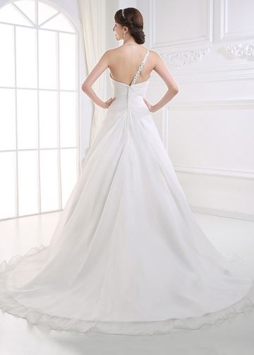 Stunning Organza Satin One Shoulder Neck Dropped Waistline A-line Wedding Dress