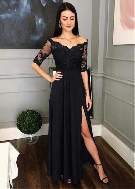Winsome Tulle & Chiffon Off-the-shoulder Neckline Floor-length A-line Evening Dresses