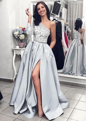 Delicate Satin One Shoulder Neckline Floor-length A-line Evening Dresses With Lace Appliques & Belt & Pockets