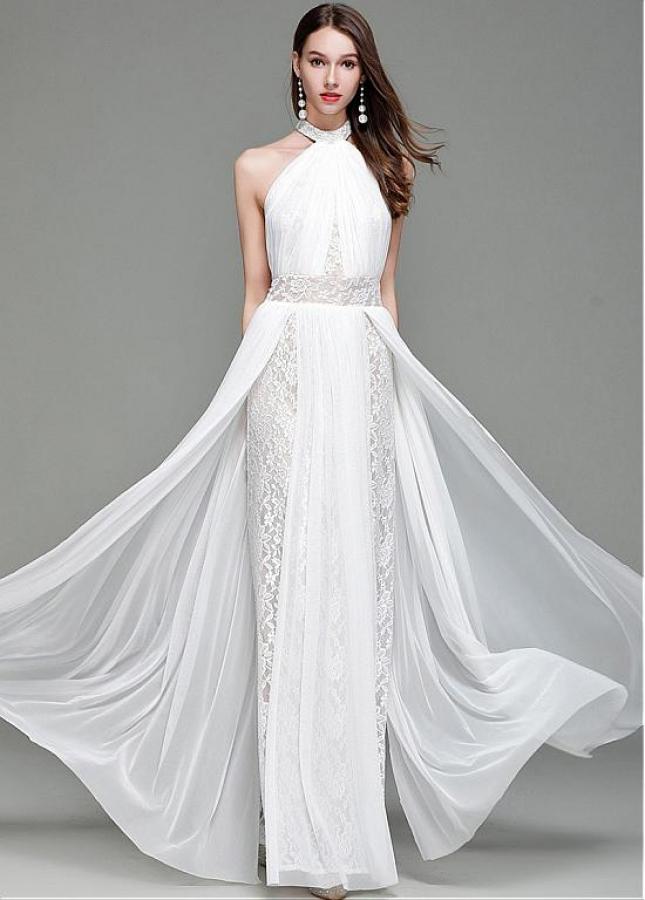 Fabulous Lace Halter Neckline Floor-length Sheath/Column Evening Dress