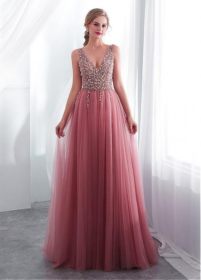 Delicate Tulle V-neck Neckline A-line Evening Dress With Beadings