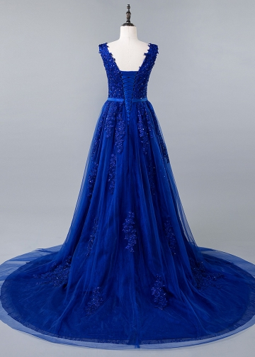 Romantic Royal Blue V-neck Neckline A-line Prom Dress
