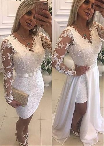 Fashion Lace & Chiffon V-neck Neckline Long Sleeves 2 In 1 Prom Dress With Beaded Lace Appliques