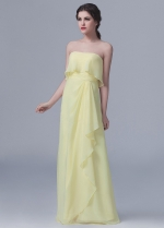 Floor Length Strapless Chiffon Yellow Bridesmaid Dresses
