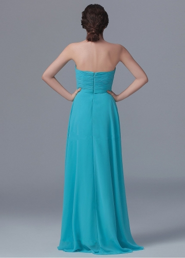 Hunter Long Chiffon Backless Bridesmaid Dress with Pleated Bodice