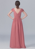 V-neck Lace Capped Sleeves Chiffon Long Dresses for Bridesmaid