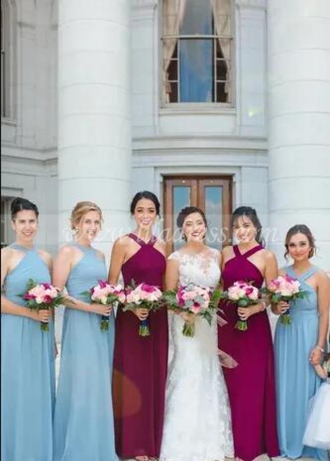 Peach Chiffon Bridesmaid Dresses Long Maxi Dress