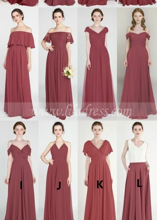 Long Mismatched Bridesmaid Dresses Mauve Chiffon Skirt