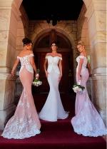 Attractive Off-the-shoulder Neckline Mermaid Bridesmaid Dresses With Lace Appliques & Belt