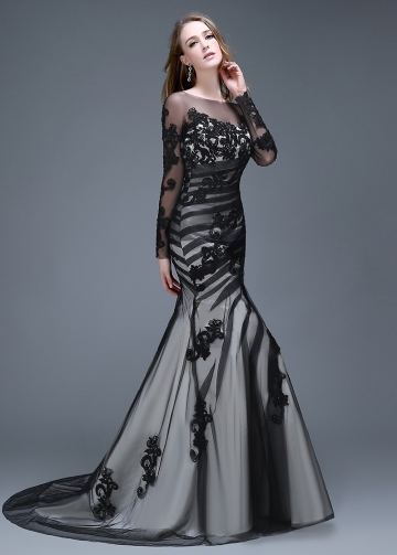 Alluring Tulle Bateau Neckline Mermaid Evening Dresses