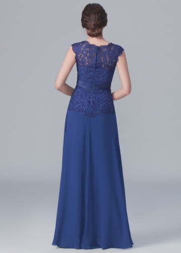 Crew Neck Lace Chiffon Blue Mother Wedding Party Dresses
